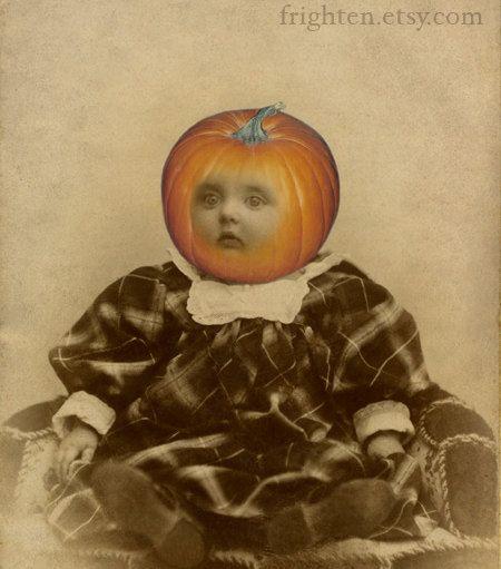 Halloween Decoration, Mixed Media Collage Print, Pumpkin
