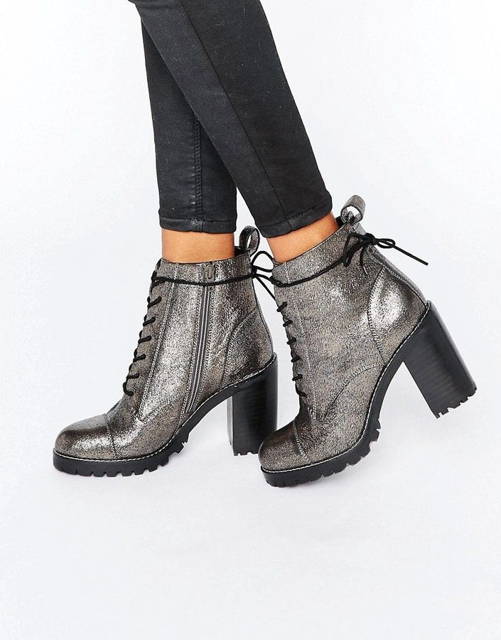 Office Ammo Pewter Leather Chunky Lace Up Heeled Ankle Boots