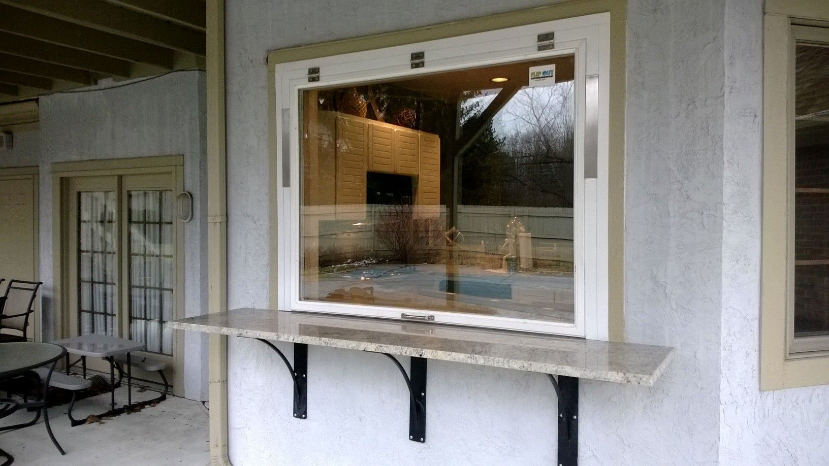 Create Your Own Flip Out Window With A Bar Windows Outdoor Living Rooms New Homes