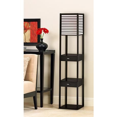 Tamber Etagere Floor Lamp With Shelf And Drawers Floor Lamp With Shelves Contemporary Floor Lamps Floor Lamps Living Room