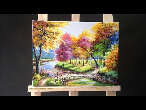 Painting a Autumn Forest Lanscape with Acrylics - YouTube | Art