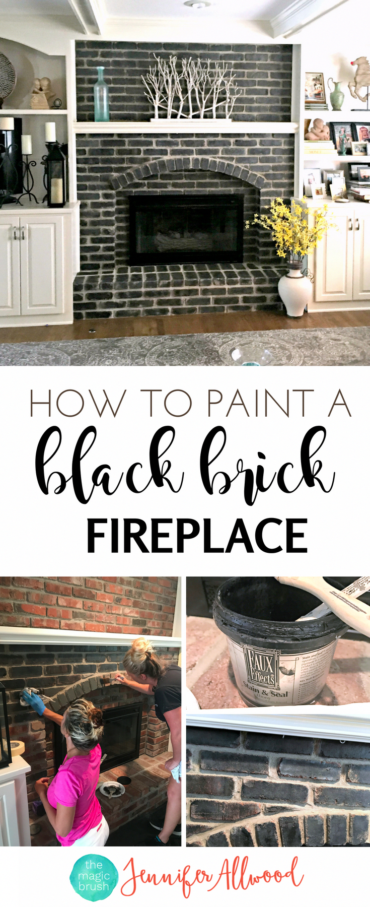 How to make a Painted Black Brick Fireplace Jennifer Allwood | Fireplace Makeover | DIY Fireplace Ideas #homeremodelingdiy #fireplacemakeoverdiy How to make a Painted Black Brick Fireplace Jennifer Allwood | Fireplace Makeover | DIY Fireplace Ideas #homeremodelingdiy #whitebrickfireplace