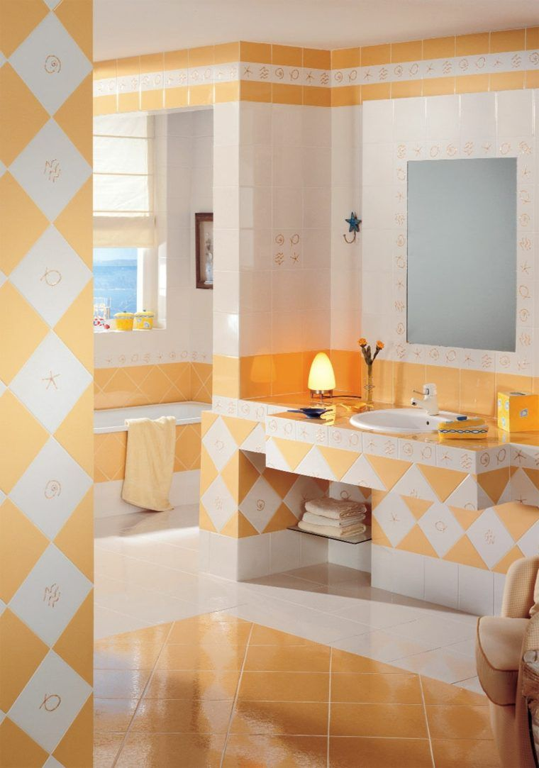 carrelage salle de bain tendance orange blanc moderne ...