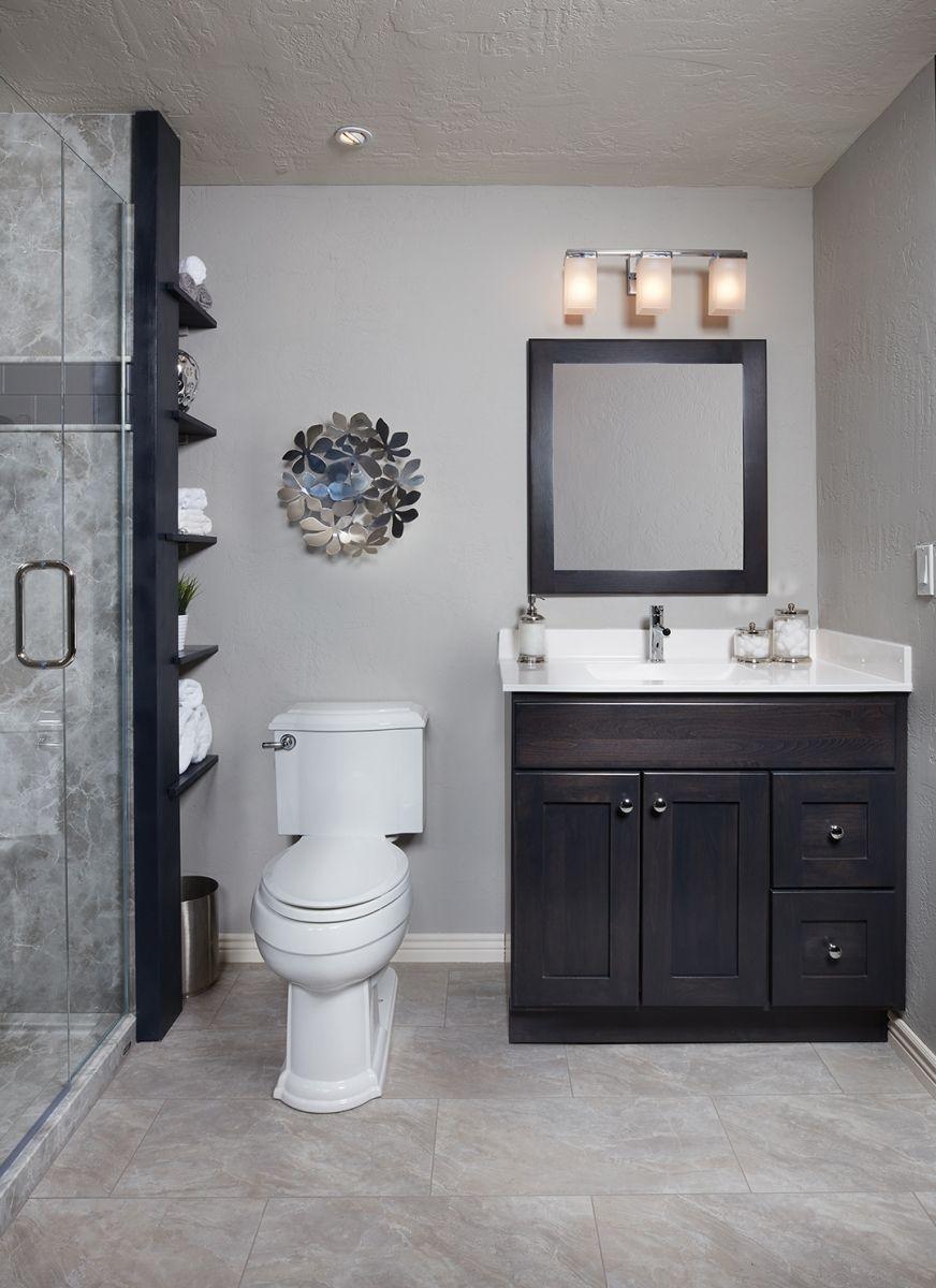 Small Custom Bertch Vanity In Dark Wood Stain And Matching Mirror Bathroom Storage Solution C Bathroom Design Styles Bathroom Redesign Bathroom Designs Images [ 1200 x 872 Pixel ]