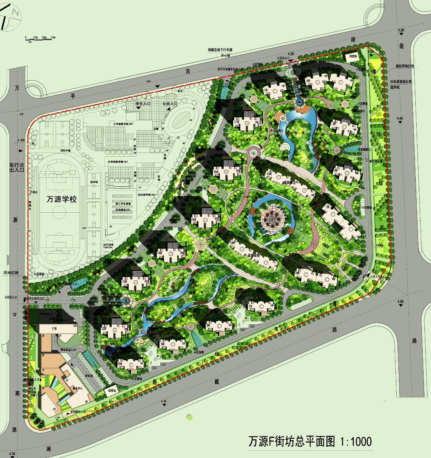 Shanghai wanyuan f block proposal ud urban fabric for Site plan with landscape