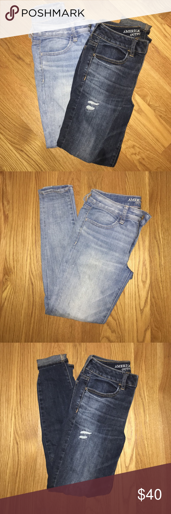 American Eagle Jeans Duo Two pairs of size 6 American Eagle skinny jeans! One is dark wash, ripped, and high waisted. Other is light wash, solid, regular rise. American Eagle Outfitters Pants Skinny