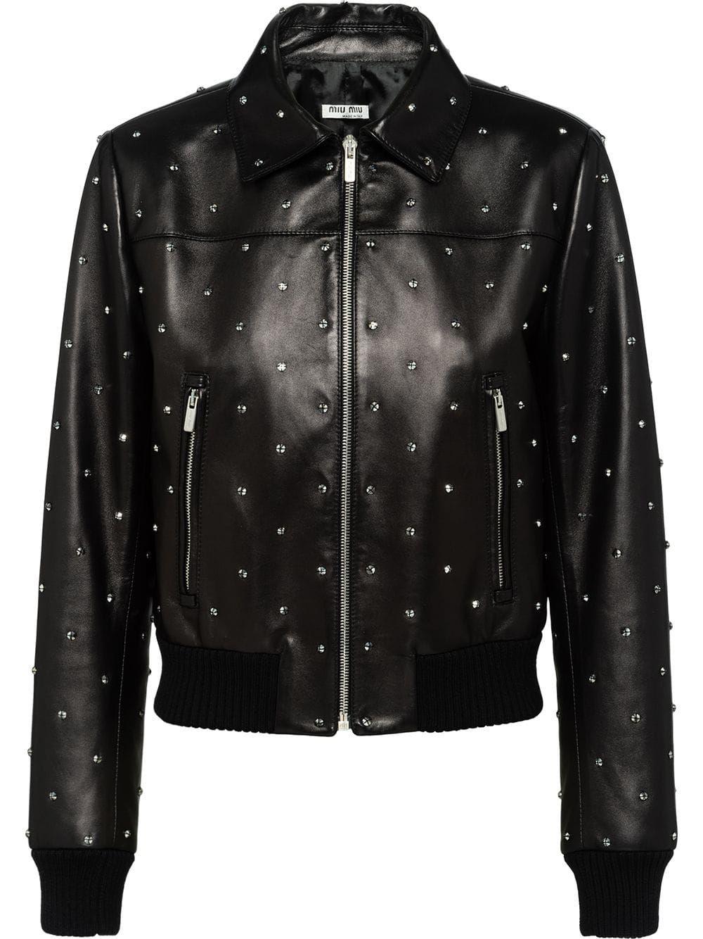 Miu Miu crystal embellished biker jacket Black Jackets
