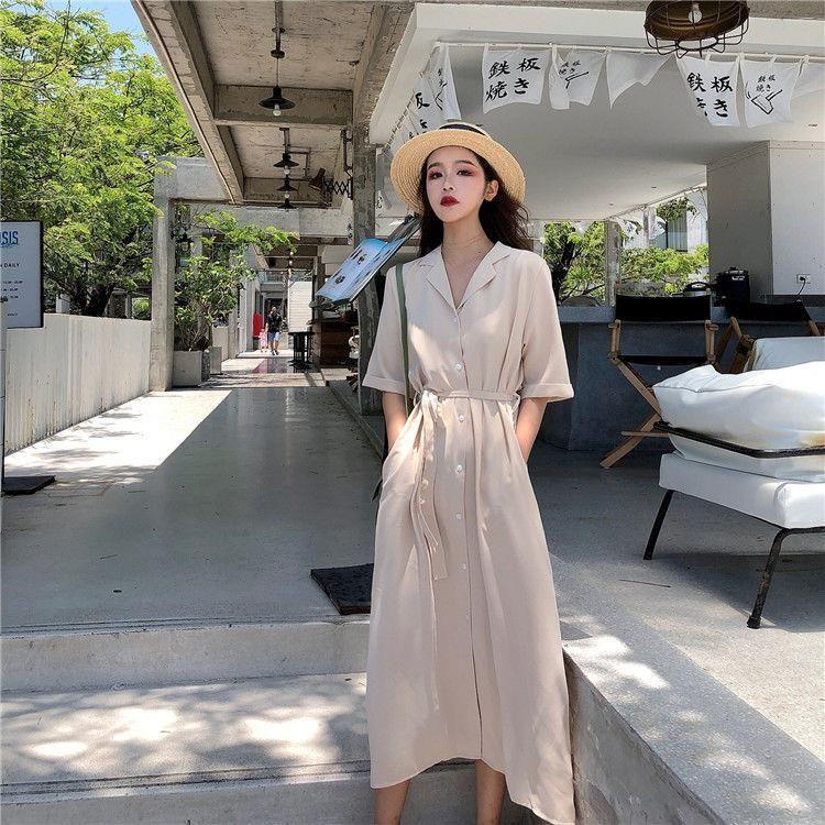 Dress Women Office Lady Summer Minimalist Side-slit Female Elegant Maxi Loose Trendy French Ulzzang Plus Size 3XL Street Stylish - apricot / XL