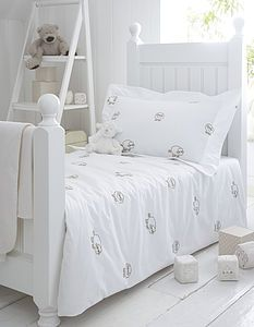 Sheep Embroidered Organic Nursery Bedding - cot bedding
