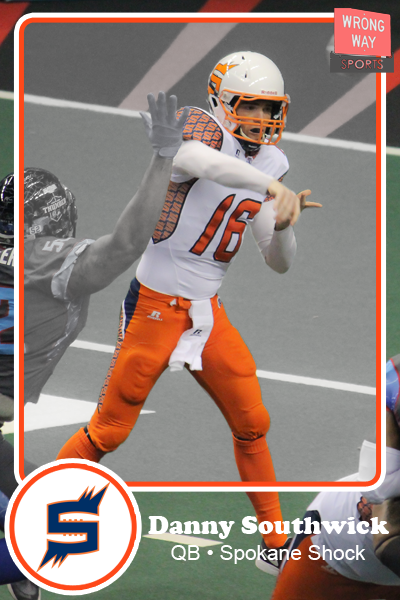Danny Southwick, Spokane Shock quarterback, has an AFL trading card.