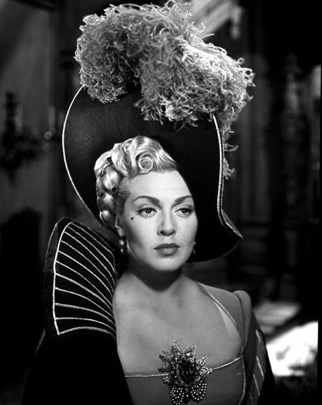 """Todays 1940s vintage hair & make up inspiration via a historical drama and Lana Turner in """"The Three Musketeers"""", 1948."""