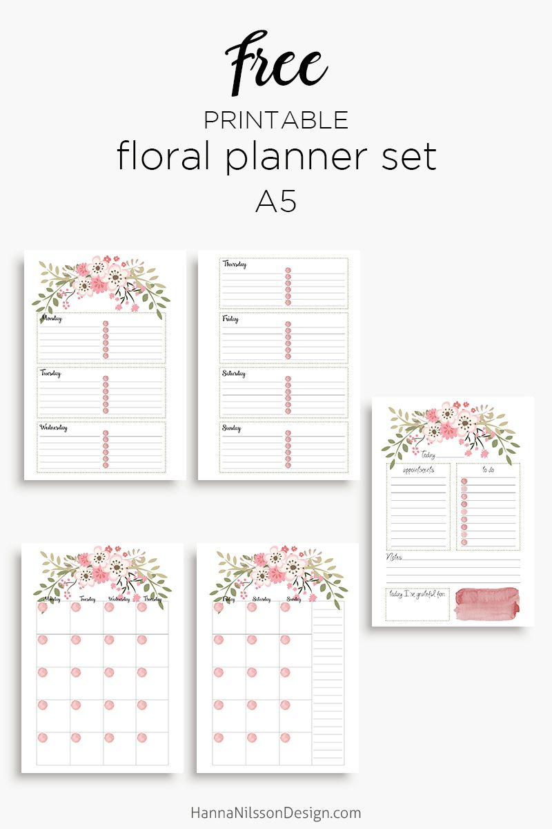 Pink Floral Planner Inserts In A5 And Personal Size Day On One