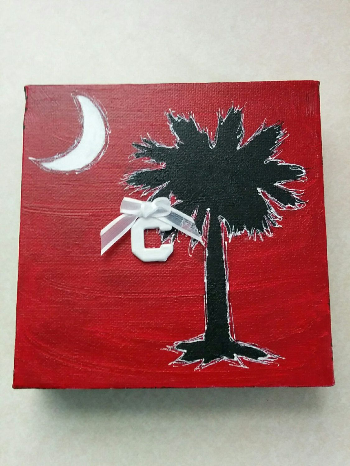 USC Gamecocks SC Tree & Moon w/ Charm Painting by BeadsNBrushes on Etsy