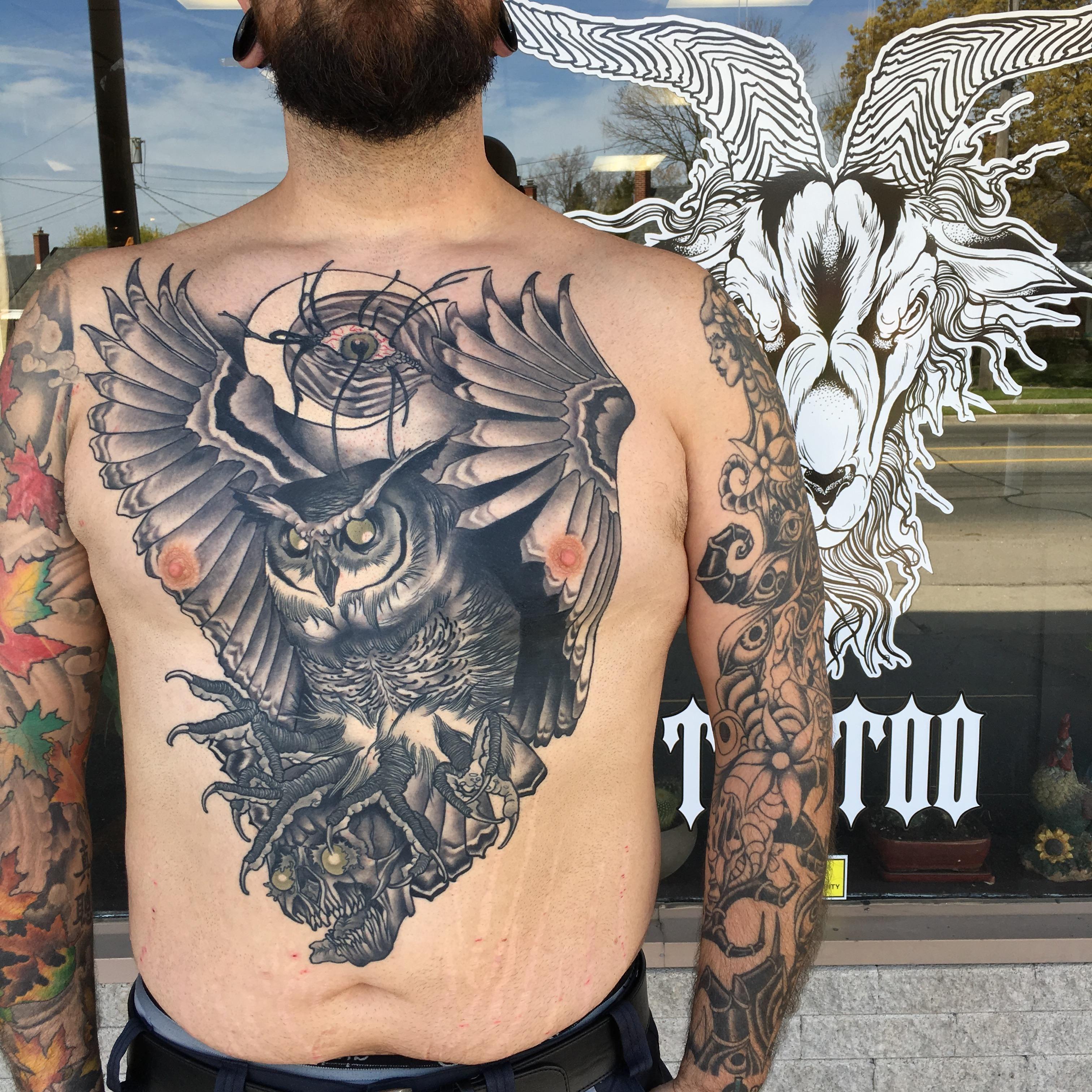 My Owl Chest Piece By Travis Mcgregor Hailstorm Tattoo In