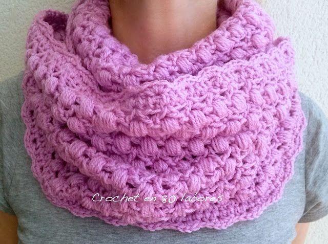 Crochet en 80 labores: Bufanda infinita en punto piña (puff) y punto ...