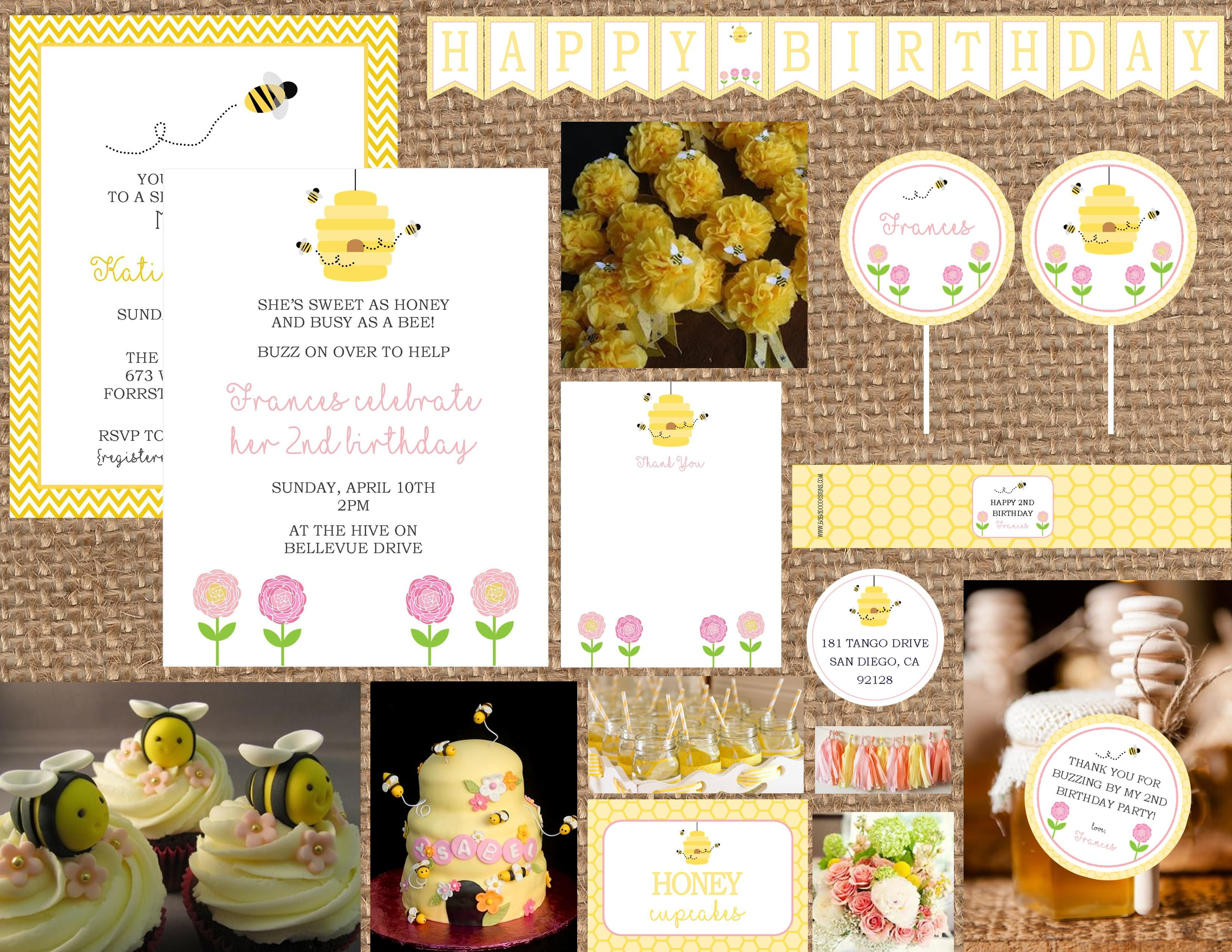 Bee + Flowers, Pink Flowers, Garden Party, Yellow and Pink, Light Pink, Bee Hive, Bee Good: https://www.etsy.com/listing/176992292/honey-bee-flowers-bee-good-birthday-baby?ref=listing-shop-header-1