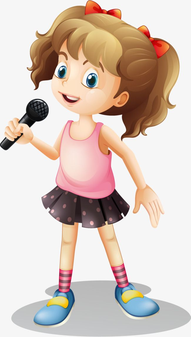 مرسومة باليد ناقلات فتاة الغناء المتجه مرسومة باليد كرتون Png والمتجهات للتحميل مجانا Little Girl Singing Music Notes Art School Wall Art