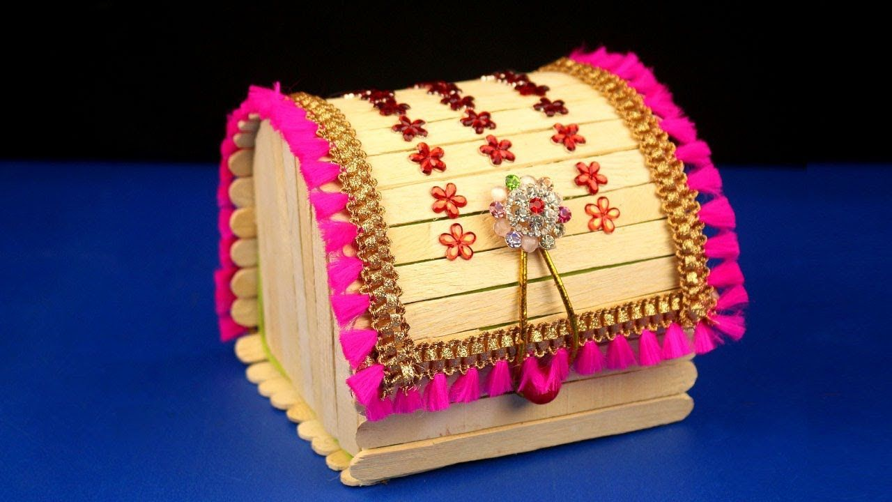 How To Make Jewellery Box At Home Popsicle Stick Crafts Diy Craft