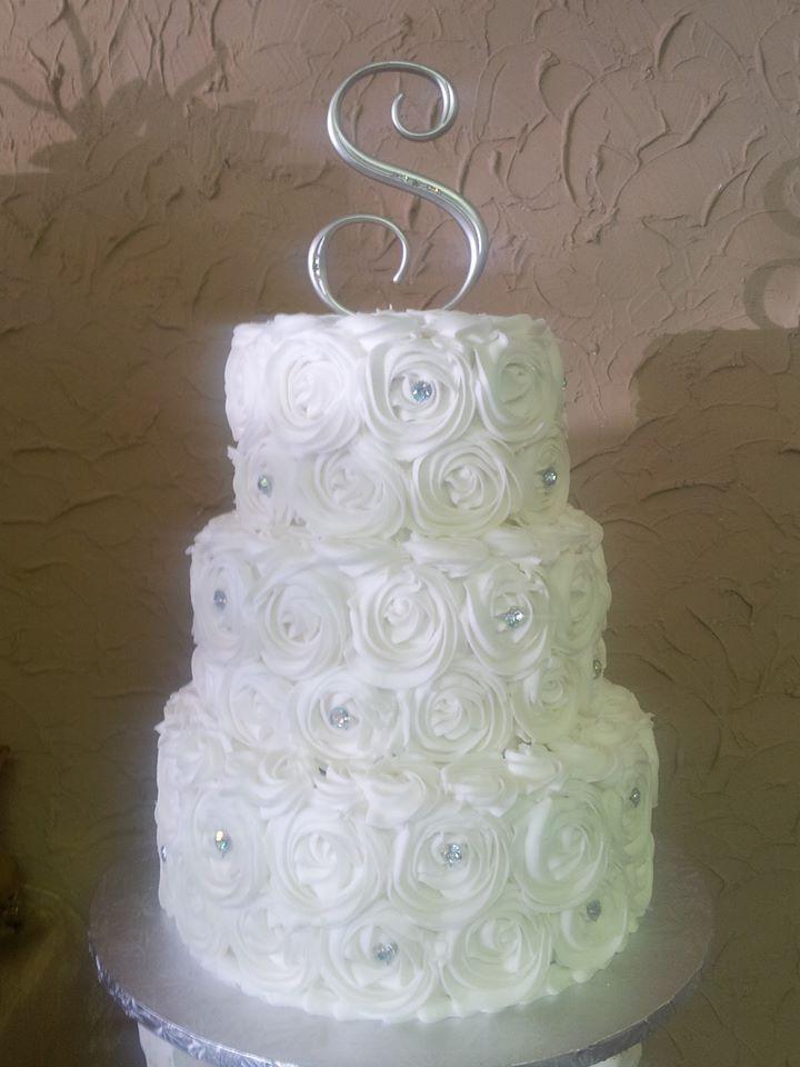 Custom Three Tier Elegant White Rose Wedding Cake