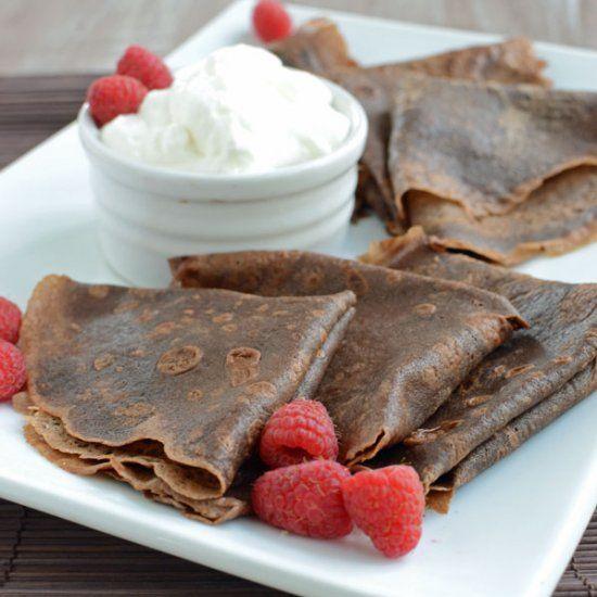 Crêpes With Sweet Yogurt And Raspberry Apricot Sauce: Dark Chocolate Crepes Stuffed With Chocolate Raspberry