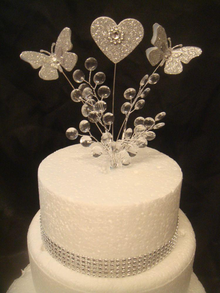 Glitter Erfly Crystal Silver Heart Wedding Birthday Cake Topper Trim