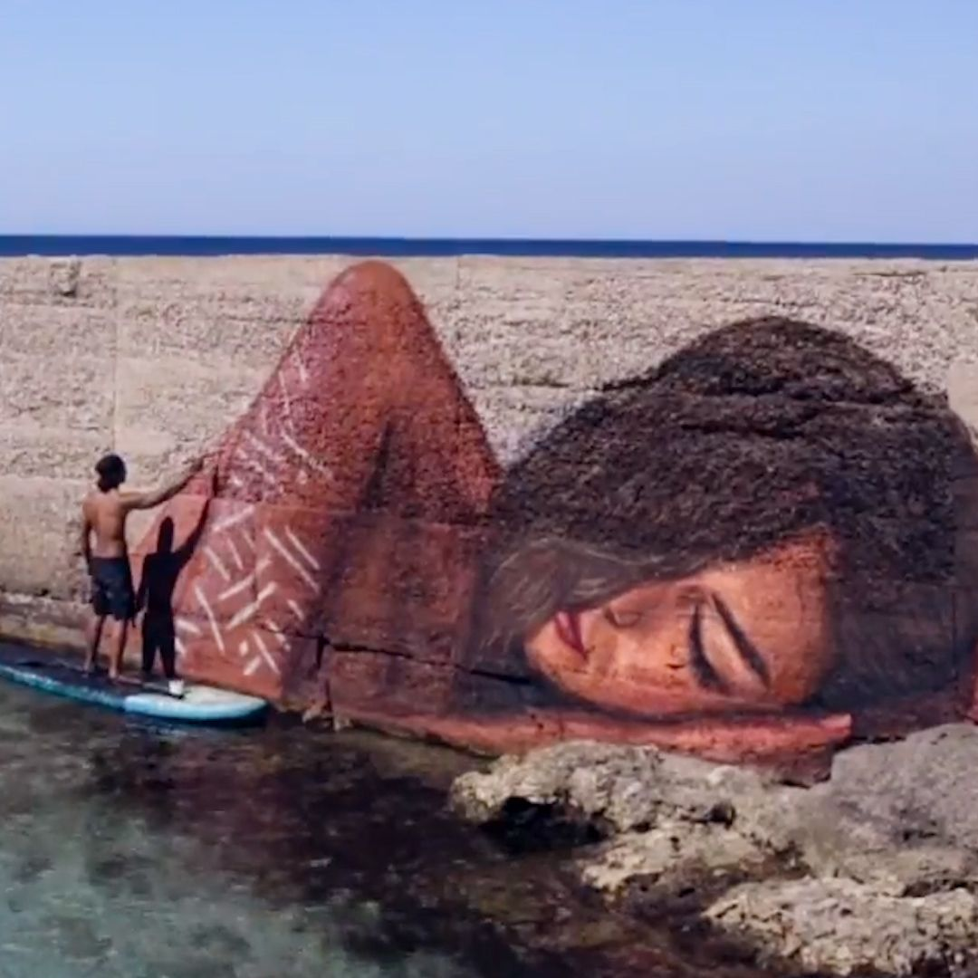 This artist rides waves in Hawaii to paint his incredible murals and street art.