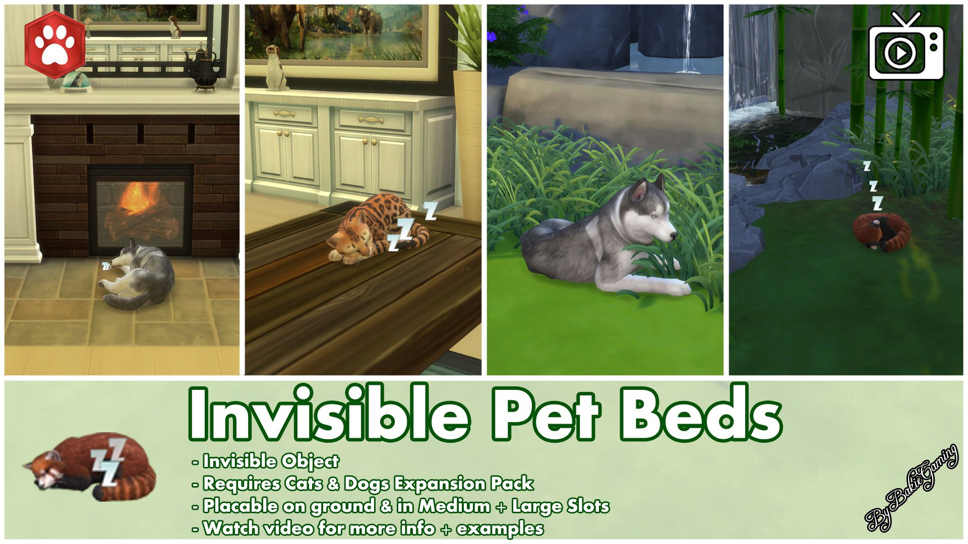 Use This Mod To Let Your Pets Sleep On The Places You Want Them Too Even On Tables Only Cats Pet Beds Sims Pets Sims 4 Pets