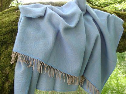 Sea blue and beige herringbone pure new wool blanket Solway Blankets