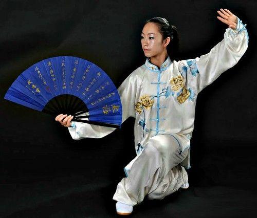tai chi kung fu fan blue wushu kungfu tai chi. Black Bedroom Furniture Sets. Home Design Ideas