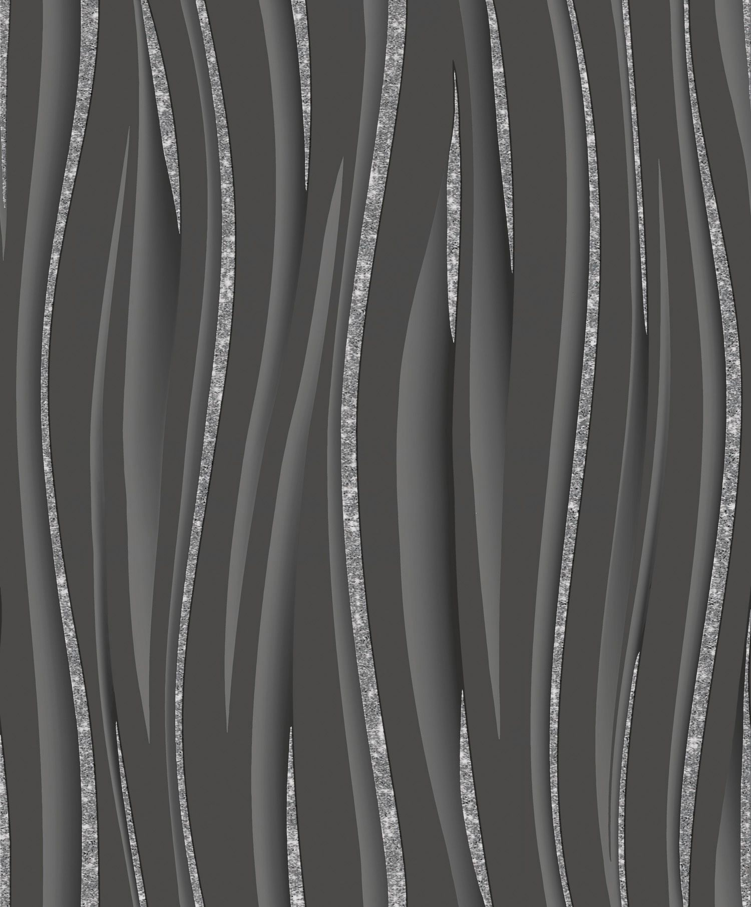 Wave Black/Silver wallpaper by Vymura Black glitter