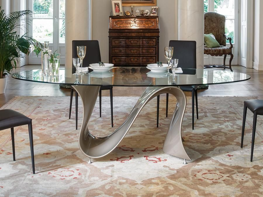 Stylish Glass Top Oval Wave Dining Table By Italian Designer Tonin