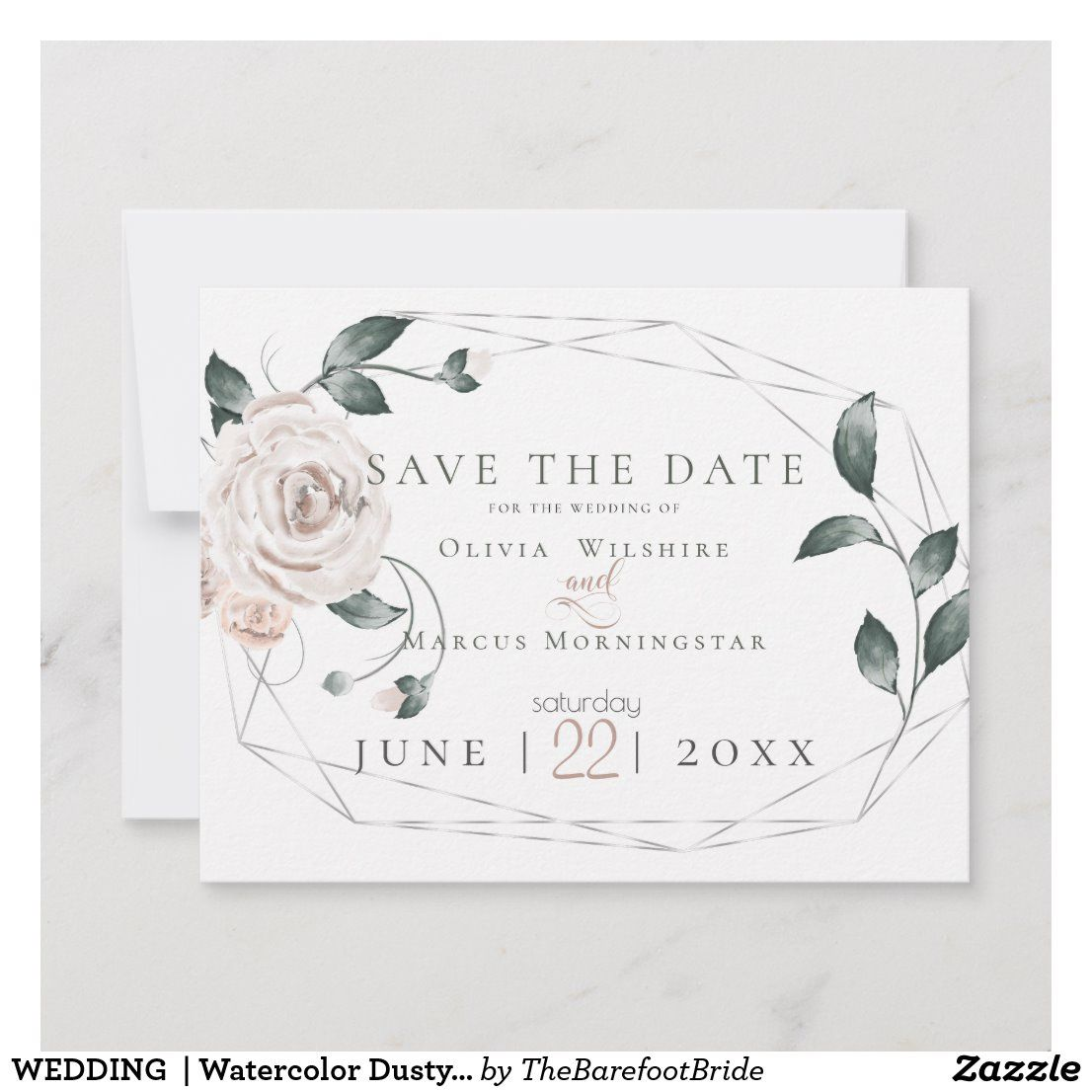 Watercolour Subtle Dusty Pink Personalized Wedding Save The Date Cards