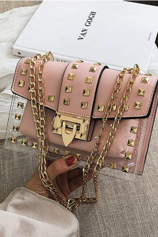 0cdabb6c85d8 Small clear Designer Woman Messenger Bag Chains Shoulder HandBag ...
