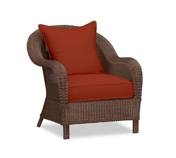 Palmetto All-Weather Wicker Armchair Cushion Slipcover, Sunbrella® Terra Cotta