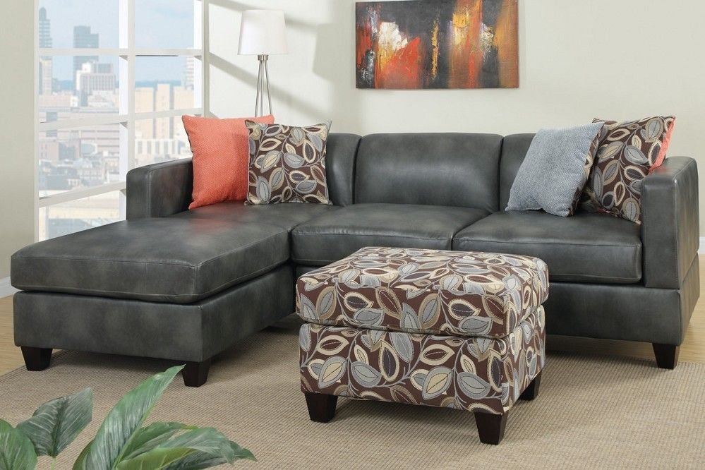 Melody Gray Leather Sofa Sectional With Reversible Chaise Floral