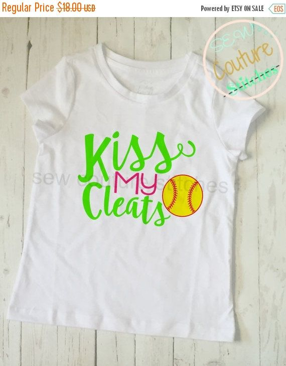 Sale Girls Kiss My Cleats Softball Shirt by Sewcouturestitches