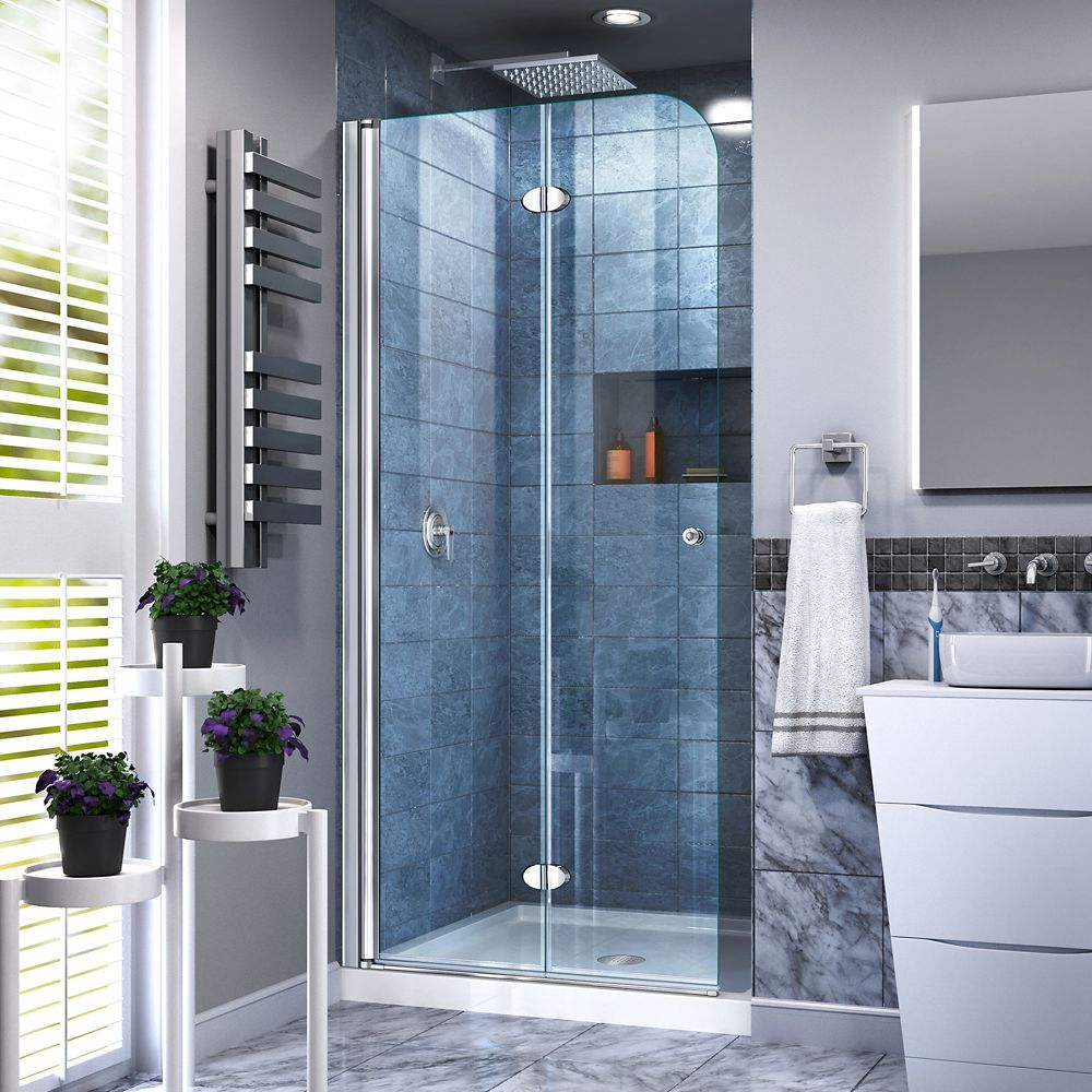 Aqua Fold 29 1 2 Inch W X 72 Inch H Frameless Bi Fold Shower Door In Chrome With Images Bifold Shower Door Shower Doors Frameless Hinged Shower Door