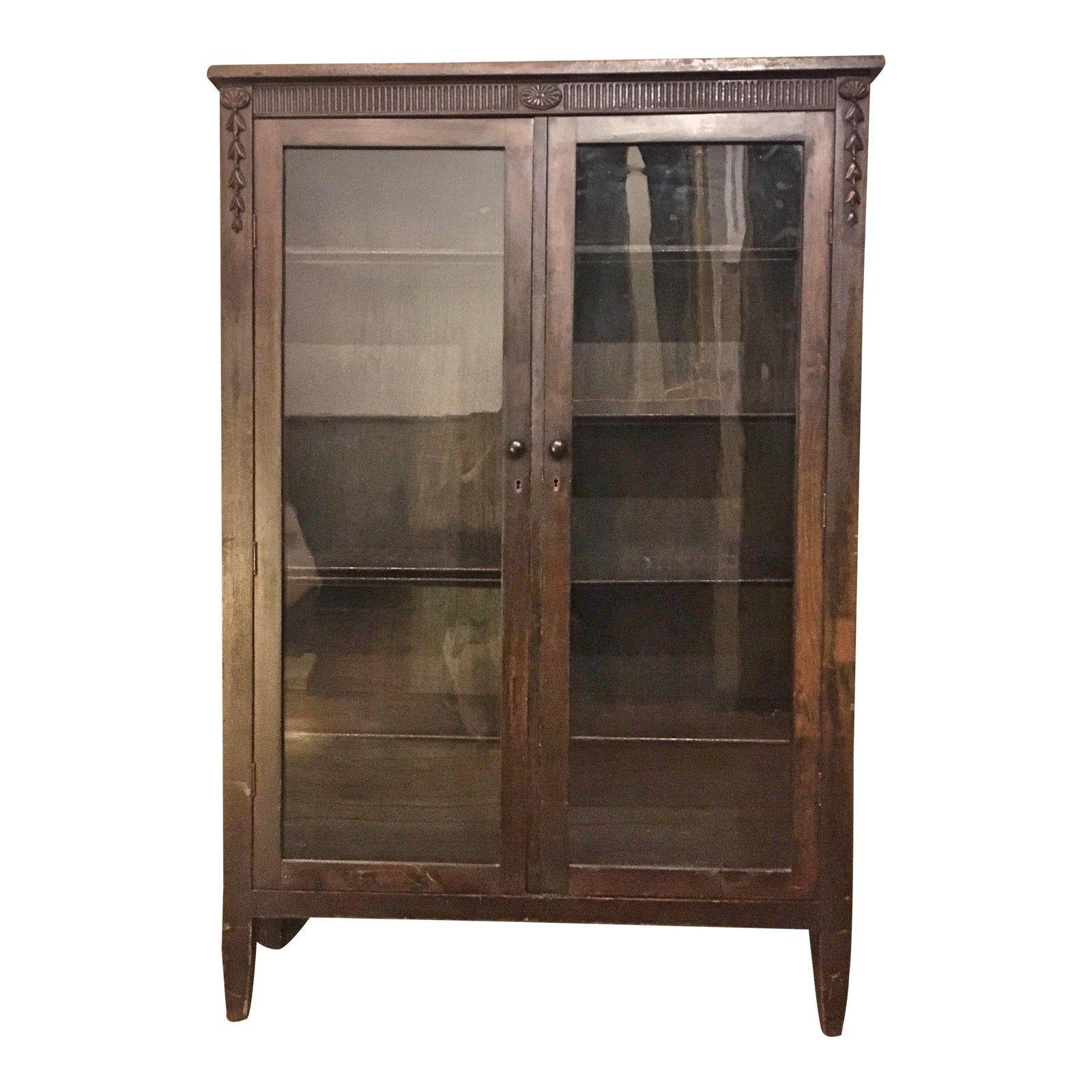 1920s Glass Door Mahogany Bookcase Chairish in 2020