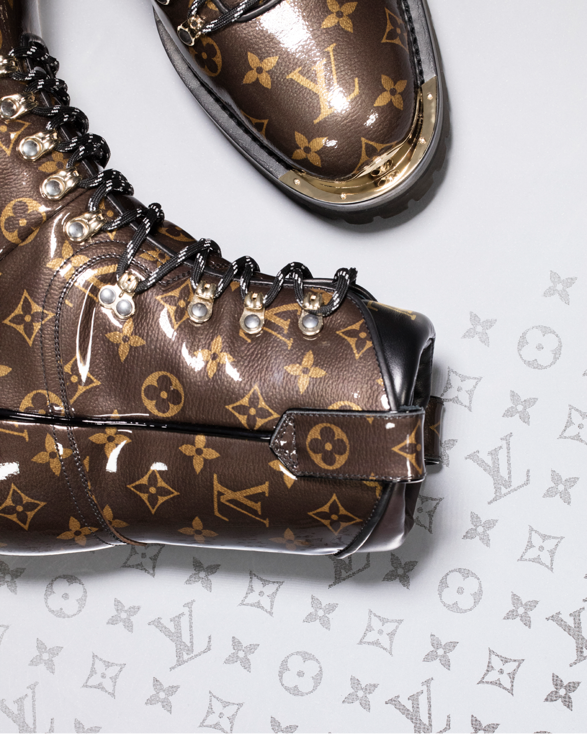 c90994e3ea0 Monogram Glaze. A detail from the final Louis Vuitton Men s Fall Winter  2018 Show by Kim Jones.
