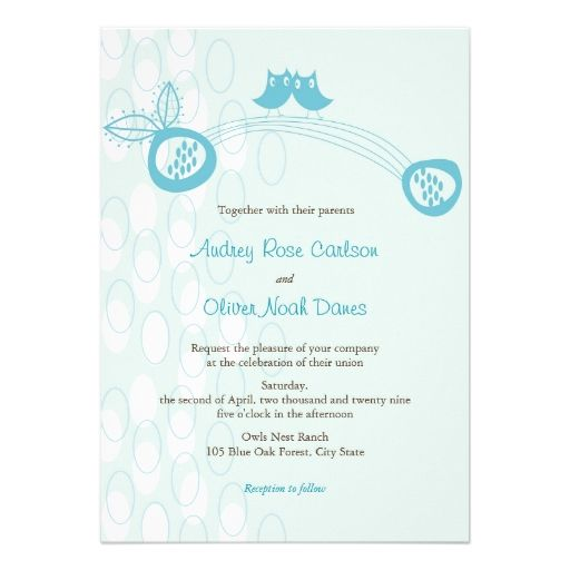 Whimsical Blue Owls In Love 2in1 Wedding Invite Invitation