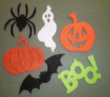 12pc -Halloween Themed Decorative Felt Shapes | Die Cuts | Cards | Crafting by CountryCroppers on Etsy https://www.etsy.com/listing/151625598/12pc-halloween-themed-decorative-felt