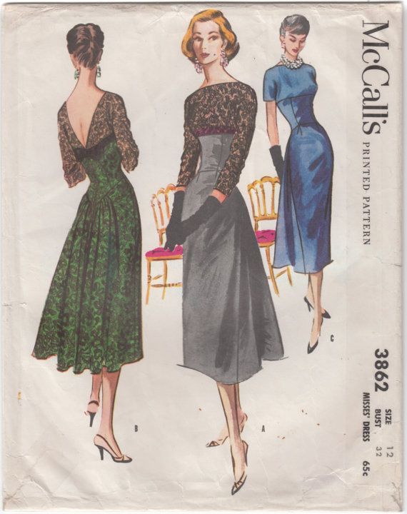 McCall\'s 3862 Vintage 1950s Evening Gown or Dress Sewing Pattern ...