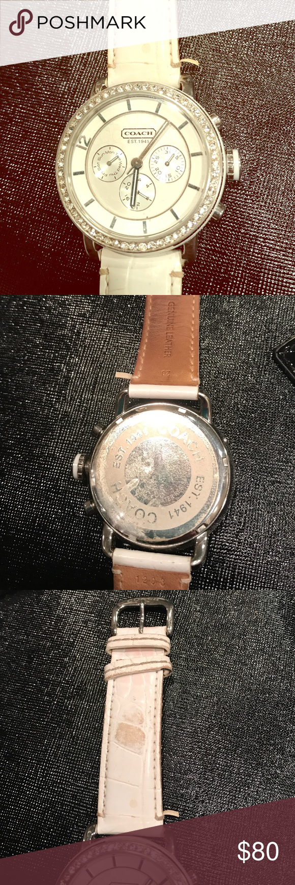 Authentic Coach watch White Coach watch with embellishments around it. Band is worn as shown. Also the hands seem to be a little lose, easy fix for a jeweler. Coach Accessories Watches