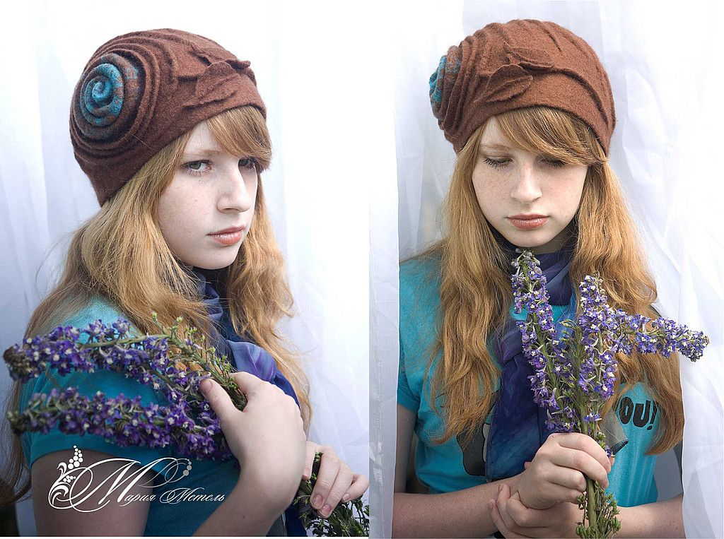 """Купить Шляпа """"Чайная роза"""" - валяная шляпка, шляпа, шапка, 100% шерсть, зима, весна"""