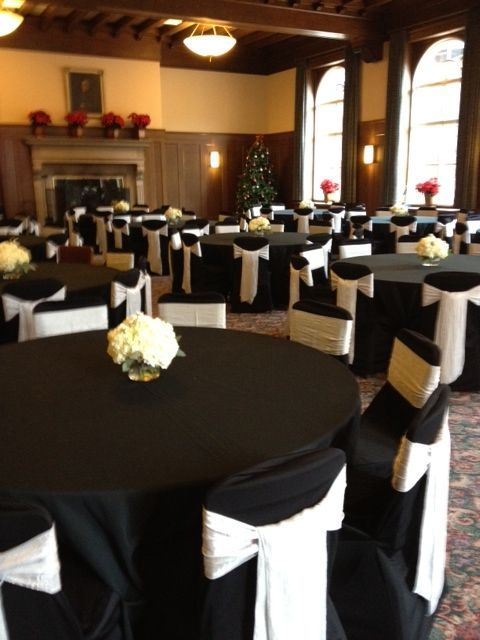 Pinterest & black wedding table cloth and chair covers | Black chair ...