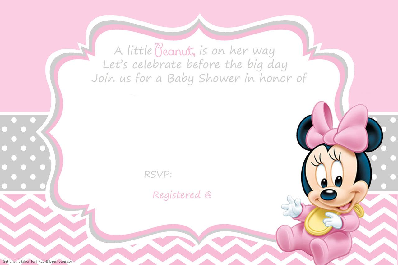Cool Free Printable Minnie Mouse Baby Shower Invitation | FREE Baby ...