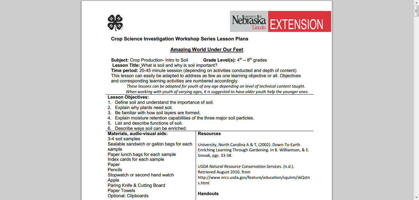 Crop Science Investigation Series Lesson Plans