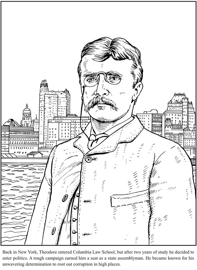 Teddy Roosevelt Coloring Book Dover Publications Coloring Pages