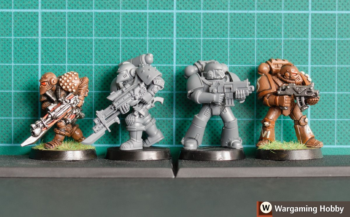 size comparison of the 1985 imperial space marine 2016 version 2015 mk 4 armour and its early 90s original wargaming hobby painting terrain images  [ 1200 x 745 Pixel ]