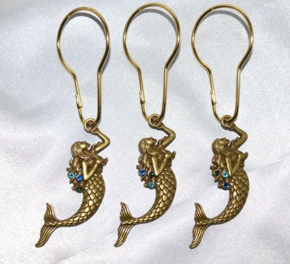 Mermaid Shower Curtain Hooks Antique Bronze, Swarovski Crystals in ...